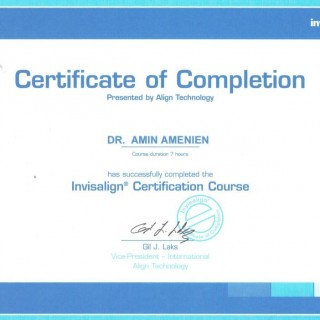 7 Dr Amin Amenien Invisalign certification 2007